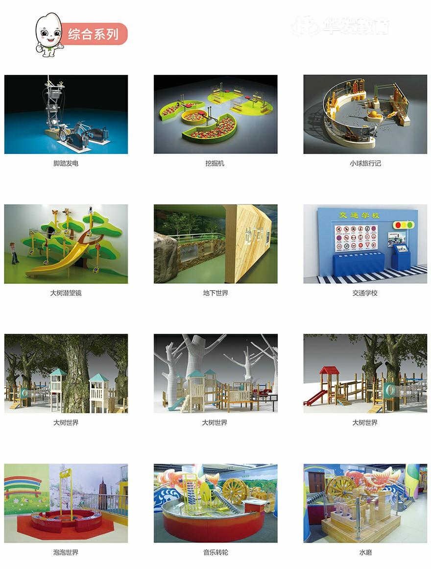 综合系列:脚踏发电、挖掘机、小球旅行记、大树潜望镜、地下世界、交通学校、大树世界、泡泡世界、音乐转轮、水磨